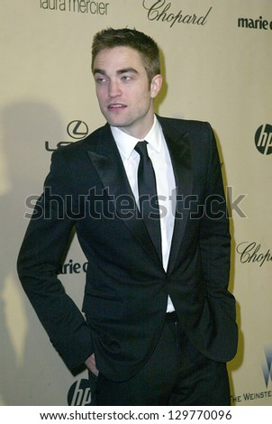 BEVERLY HILLS, CA - JAN. 13: Robert Pattinson arrives at the Weinstein Company's 2013 Golden Globes After Party on Sunday, January 13, 2013 at the Beverly Hilton Hotel in Beverly Hills, CA.