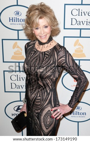 BEVERLY HILLS, CA. - JANUARY 25: Jane Fonda arrives at the Clive Davis and The Recording Academy annual Pre-GRAMMY Gala on January 25th 2014 at the Beverly Hilton in Beverly Hills, California. - stock photo