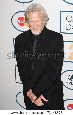 BEVERLY HILLS, CA. - JANUARY 25: Kris Kristofferson arrives at the Clive Davis and The Recording Academy annual Pre-GRAMMY Gala on January 25th 2014 at the Beverly Hilton in Beverly Hills, California.