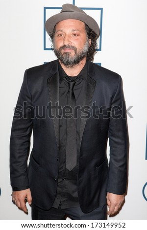 BEVERLY HILLS, CA. - JANUARY 25: Mr. Brainwash arrives at the Clive Davis and The Recording Academy annual Pre-GRAMMY Gala on January 25th 2014 at the Beverly Hilton in Beverly Hills, California. - stock photo