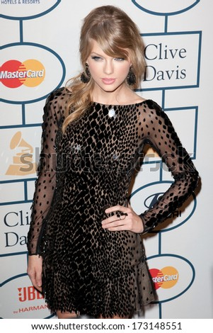 BEVERLY HILLS, CA. - JANUARY 25: Taylor Swift arrives at the Clive Davis and The Recording Academy annual Pre-GRAMMY Gala on January 25th 2014 at the Beverly Hilton in Beverly Hills, California.