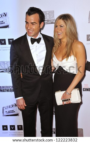 BEVERLY HILLS, CA - NOVEMBER 15, 2012: Jennifer Aniston & Justin Theroux at the 26th Annual American Cinematheque Awards Ceremony honoring actor Ben Stiller at the Beverly Hilton Hotel.