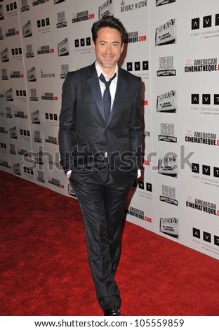BEVERLY HILLS, CA - OCTOBER 14, 2011: Robert Downey Jr. at the 2011 American Cinematheque Gala where he was honored with the 25th Annual American Cinematheque Award at the Beverly Hilton Hotel in Beverly Hills, CA on Oct. 14, 2011.