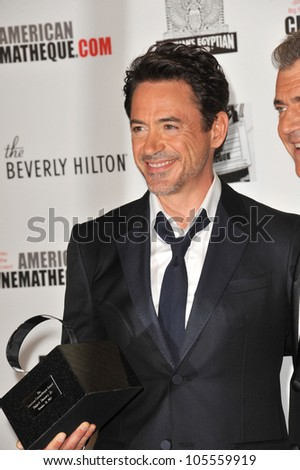 BEVERLY HILLS, CA - OCTOBER 14, 2011: Robert Downey Jr. at the 2011 American Cinematheque Gala where he was honored with the 25th Annual American Cinematheque Award at the Beverly Hilton Hotel.
