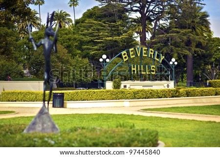 Beverly Hills California. Beverly Hills Sign in the Park. Horizontal Photo.