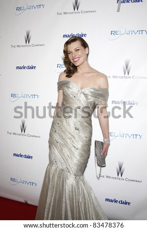 BEVERLY HILLS - JAN 16: Milla Jovovich at The Weinstein Company And Relativity Media\'s 2011 Golden Globe Awards Party in Beverly Hills, California on January 16, 2011