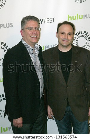 BEVERLY HILLS - MARCH 13: Bill Prady and Steven Molaro arrive at the 2013 Paleyfest \