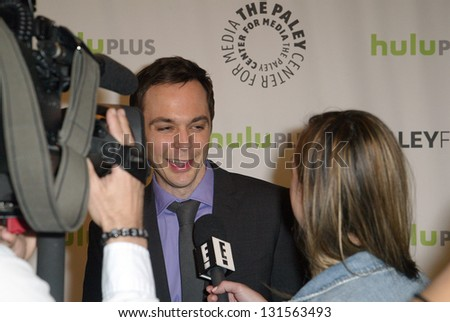 BEVERLY HILLS - MARCH 13: Jim Parsons is interviewed by the media at the 2013 Paleyfest \