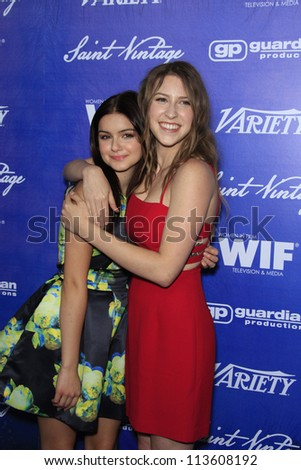 BEVERLY HILLS - SEP 21:  Ariel Winter, Eden Sher at the 'Variety and Women in Film Pre-Emmy Event' at Scarpetta on September 21, 2012 in Beverly Hills, California - stock photo