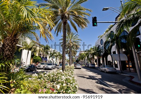 BEVERLY HILLS, USA - JULY 17: View of Rodeo Drive during sunny day on July 17, 2011 in Beverly Hills. Rodeo Drive is a shopping district famous for designer label and haute couture fashion