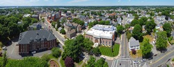 Beverly Public Library aerial view panorama at 32 Essex Street with Cabot Street at the background in historic city center of Beverly, Massachusetts MA, USA.