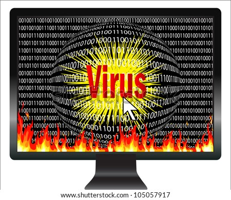 Beware of computer viruses. Concept of digital danger, that viruses are threatening the computer world