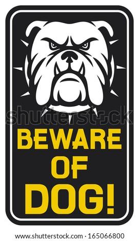 beware of dog sign (beware of dog design, beware of dog label)