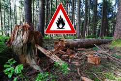 Beware of forest fires in dry weather. Fire hazard in summer in forest areas