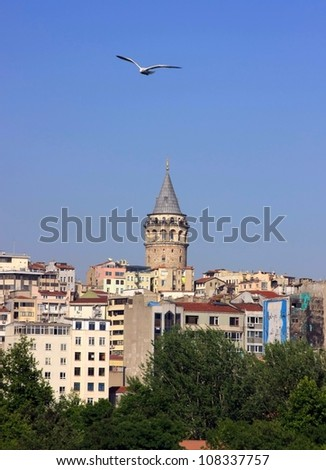 Beyoglu district historic architecture and Galata tower medieval landmark in Istanbul, Turkey