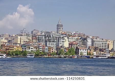 Beyoglu historic district and Galata tower medieval landmark in Istanbul, Turkey
