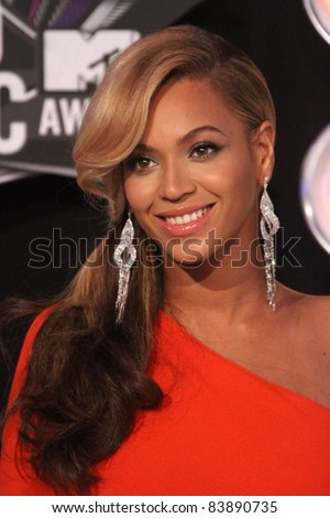 Beyonce at the 2011 MTV Video Music Awards Arrivals, Nokia Theatre LA Live, Los Angeles, CA 08-28-11 - stock photo