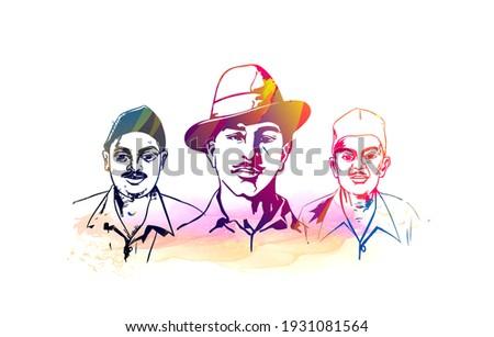 bhagat singh, shaheed sardar bhagat singh, martyrs day vector illustration of Indian people saluting celebrating shaheed diwas