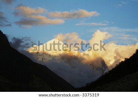 Bhagirathi Parbat peak in Himalayan on sunset