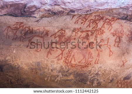 Bhimbetka Rock Shelters, Madhya Pradesh, India. Declared a UNESCO World Heritage site in 2003, the shelters contain ancient rock art from the Upper Paleolithic to Medieval times .