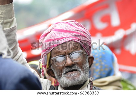 BHOPAL- DECEMBER 2: An old gas victim says slogans during the rally to mark the 26th year of the Bhopal Gas Disaster, in Bhopal - India on December 2, 2010.