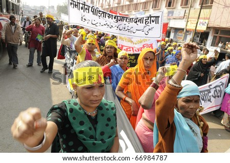 BHOPAL- DECEMBER 3: Protesters denounce the government policies during the rally to mark the 26th year of the Bhopal Gas Disaster, in Bhopal - India on December 3, 2010.