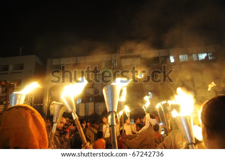 BHOPAL- DECEMBER 2: Victims being photographed by the media during the torch rally to mark the 26th year of Bhopal Gas disaster, in Bhopal - India on December 2, 2010.