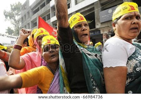 BHOPAL- DECEMBER 3: Victims chant slogans during the rally to mark the 26th year of Bhopal Gas Disaster  in Bhopal - India on December 3, 2010.