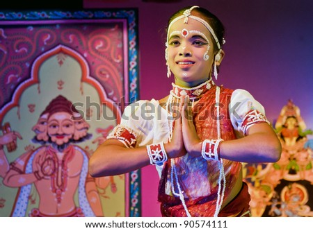 BHUBANESWAR, INDIA - NOVEMBER 24: An unidentified Male dancer wears traditional Ladies costume and performs Gotipua dance at Rabindra Mandap on November 24, 2011 in Bhubaneswar, India