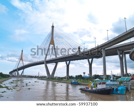 Bhumibol Bridge also casually call as Industrial Ring Road Bridge, Samut Prakarn,Thailand #59937100
