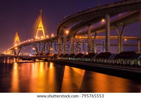 Bhumibol Bridge Evening &Twilight #795765553