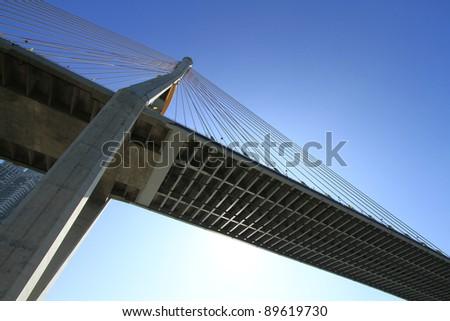 Bhumibol Bridge in Thailand, also known as the Industrial Ring Road Bridge. The bridge crosses the Chao Phraya River.