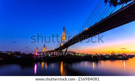 Bhumibol bridge in twilight ,bangkok Thailand, public bridge  #256984081