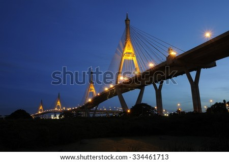 bhumibol bridge one of landmark in thailand. #334461713