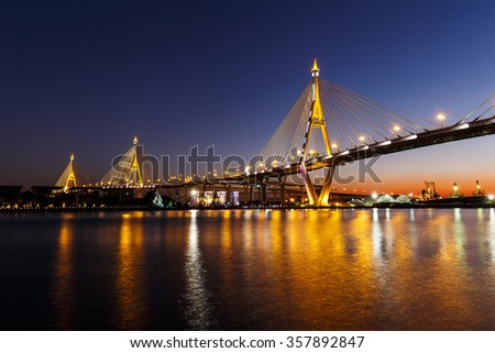 Bhumibol Bridge or Industrial Ring Road bridge at twilight #357892847