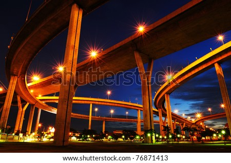 Bhumibol Bridge,the Industrial Ring Bridge or Mega Bridge,at dusk in Thailand.The bridge located at Bangkok harbor. - stock photo