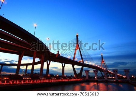 Bhumibol Bridge (the Industrial Ring Road Bridge) in Thailand