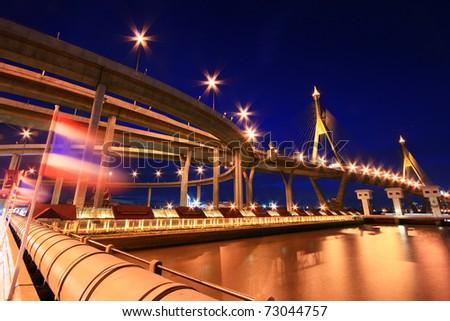 Bhumibol Bridge (the Industrial Ring Road Bridge) in Thailand with moving Thai Flag