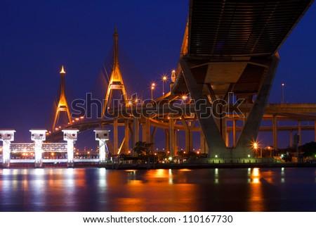 Bhumibol Mega Bridge (Industrial Ring Mega Bridge) at night, Bangkok, Thailand