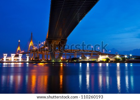 Bhumibol Mega Bridge (Industrial Ring Mega Bridge) at night, Bangkok, Thailand