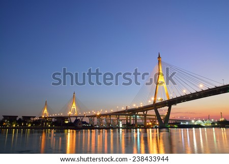 Bhumibol Mega Bridge (Industrial Ring Mega Bridge) at twilight or dusk, Bangkok, Thailand  #238433944
