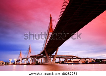 Bhumibol Suspension Bridge Under Sunset, Bangkok
