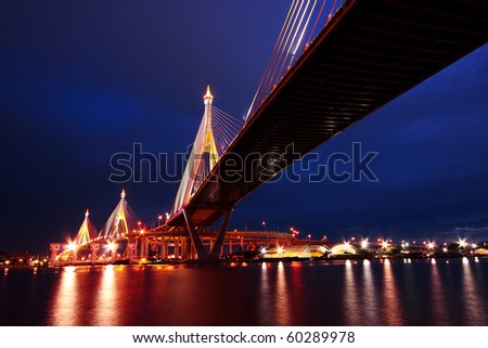Bhumibol Suspension Bridge Under Twilight, Bangkok - stock photo
