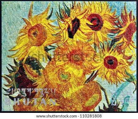 BHUTAN - CIRCA 1980: A stamp printed in Bhutan shows Vase with Twelve Sunflowers (detail) by Vincent Van Gogh, circa 1980