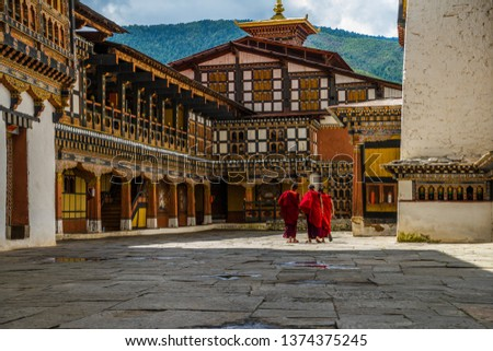 bhutan monks monastery buddhism