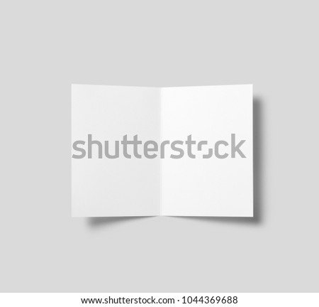 Bi fold brochure landscape brochure magazine isolated on cardboard background, with clipping path, changeable background.White background. #1044369688