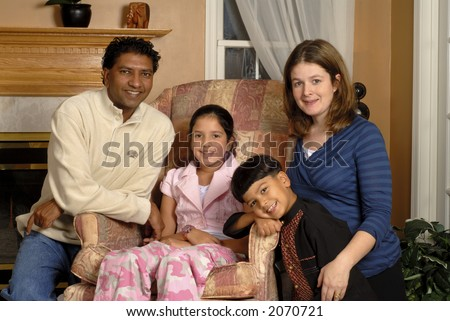 Bi-racial family portrait.