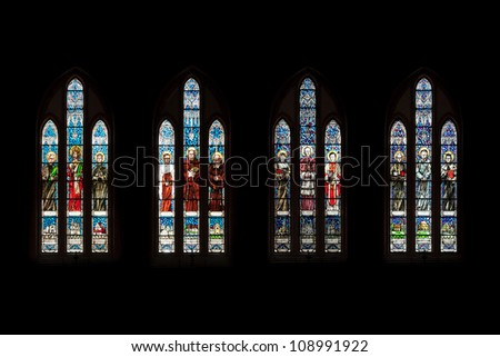 BIALYSTOK, POLAND - JULY 13:  Stained glass window in the Cathedral Basilica of the Assumption of the Blessed Virgin Mary on July 13 2012 in Bialystok, Poland.