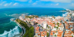 Biarritz aerial panoramic view. Biarritz is a city on the Bay of Biscay on the Atlantic coast in France.