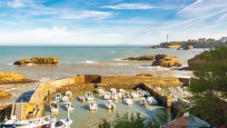 Biarritz in France, panorama of the small harbor